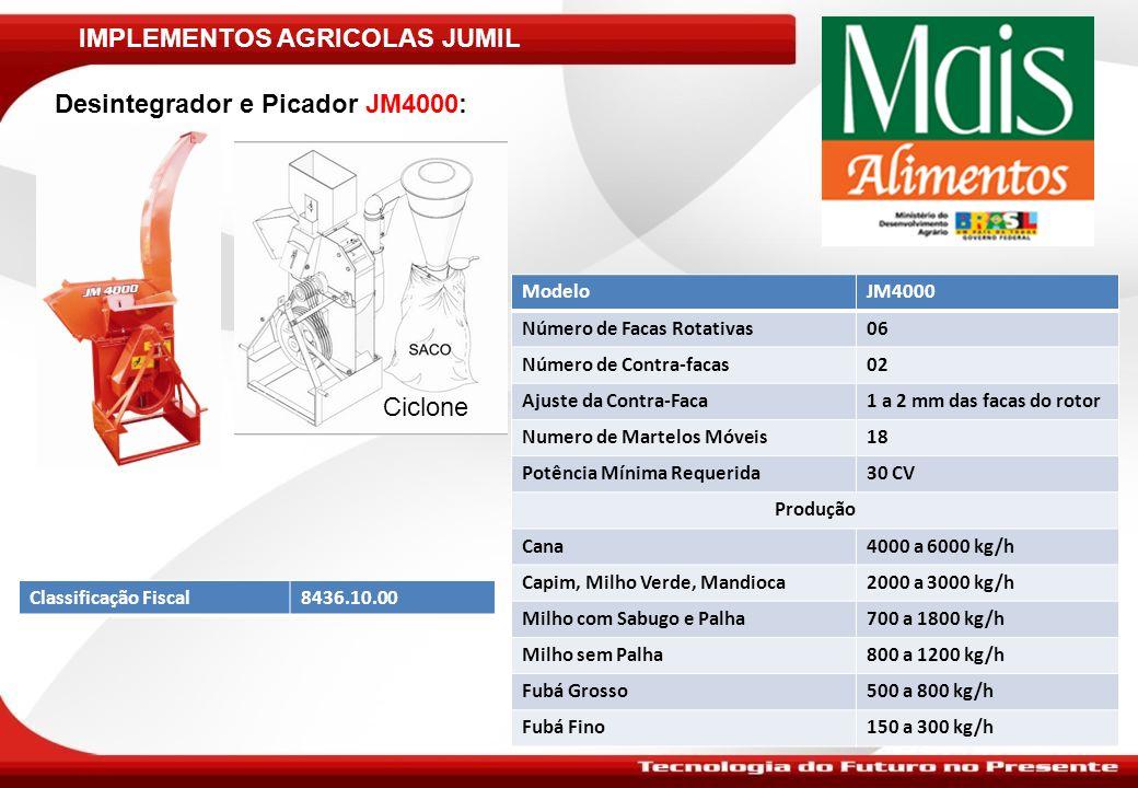 IMPLEMENTOS AGRICOLAS JUMIL Desintegrador e Picador JM4000: ModeloJM4000 Número de Facas Rotativas06 Número de Contra-facas02 Ajuste da Contra-Faca1 a