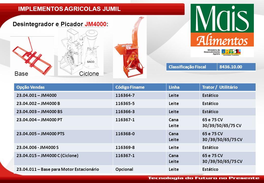 IMPLEMENTOS AGRICOLAS JUMIL Desintegrador e Picador JM4000: Ciclone Classificação Fiscal8436.10.00 Opção VendasCódigo FinameLinhaTrator / Utilitário 2