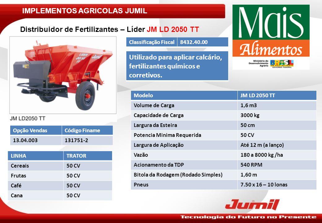 IMPLEMENTOS AGRICOLAS JUMIL Roçadeiras JM RUTD 1.4/1.6/1.8 - A : ModeloJM RUTD 1.4 - AJM RUTD 1.6 - AJM RUTD 1.8 - A Largura de Corte1,30 m1,50 m1,70 m Altura de Corte – Mínimo20 mm Altura de Corte – Máxima100 mm Rotação das Facas8000 a 1100 RPM800 a 1100 RPM Numero de Facas02 Potência Mínima Requerida25 CV45 CV60 CV Classificação Fiscal8432.80.00 Opção VendasCódigo FinameLinhaTrator 44.01.010 – RUTD 1.4131758-0Frutas Café 65 CV 44.01.011 – RUTD 1.6131758-0Frutas Café 50 e 65 CV 65 e 75 CV 44.01.012 – RUTD 1.8131758-0Café50 /65/75 CV