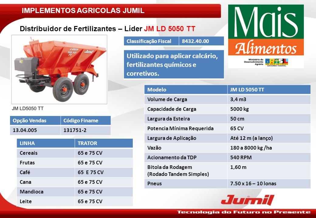 IMPLEMENTOS AGRICOLAS JUMIL ModeloJM LD 5050 TT Volume de Carga3,4 m3 Capacidade de Carga5000 kg Largura da Esteira50 cm Potencia Mínima Requerida65 C