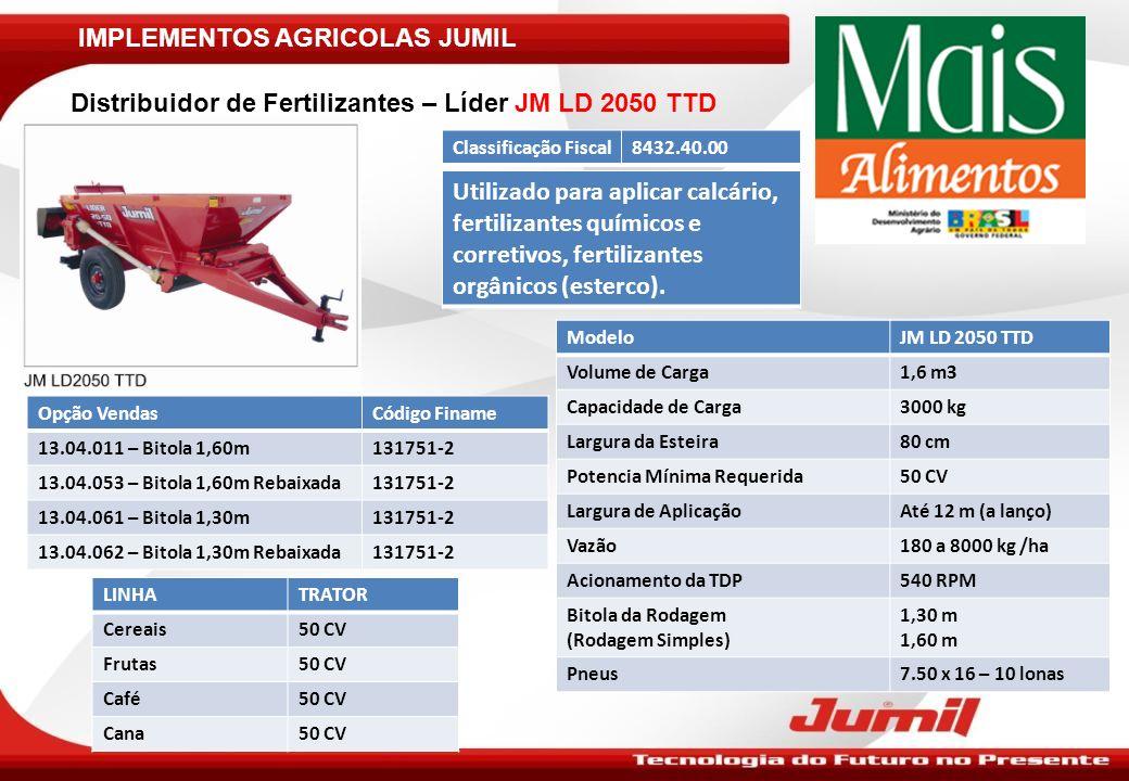 IMPLEMENTOS AGRICOLAS JUMIL Colhedora de Milho Graneleira 1 linha – JM360G: Nota Importante: Identificar no Pedido a Marca e Modelo do Trator ModeloJM360 G Produção25 a 30 sacas/hora Altura de Corte300 a 600 mm Largura do Bico Coletor530 mm Rotação do Rotor e Roletes800 a 1000 RPM Potência Mínima Requerida60 CV Rotação na TDP540 RPM Velocidade de Trabalho4 a 5 Km/h Pneu7.00 x 16 – 10 lonas Pára-Choque de AcoplamentoDe acordo com o trator Sistema de ArmazenamentoGraneleira – 730 litros / 500 kg Tempo de Descarga Graneleira1 minuto Classificação Fiscal8433.59.90 Opção VendasCódigo FinameLinhaTrator 60.03.361150998-5Cereais75 CV