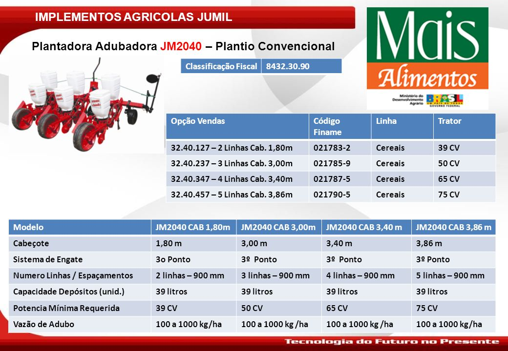 IMPLEMENTOS AGRICOLAS JUMIL Plantadora Adubadora JM2040 com Kit para Plantio Direto Classificação Fiscal8432.30.90 ModeloJM2040 CAB1,80mJM2040 CAB 3,00mJM2040 CAB 3,40mJM 2040 CAB 3,86m Cabeçote1,80 M3,00 m3,40 m3,86 m Sistema de Engate3º Ponto 3O Ponto Numero Linhas e Espaçamentos2 linhas – 900 mm3 linhas – 900 mm4 linhas – 900 mm5 linhas – 900 mm Capacidade Depósitos (unid.)39 litros Potencia Mínima Requerida39 CV50 CV65 CV75 CV Vazão de Adubo100 a 1000 kg/ha Kit Plantio DiretoBarra Porta Ferramenta com Disco de Corte Nota: As opções acima devem ser acrescidos ao preço o Kit de Plantio Direto Opção VendasCódigo Finame LinhaTrator 32.40.127 – 2 Linhas021783-2Cereais39 CV 32.40.237 – 3 Linhas021785-9Cereais50 CV 32.40.347 – 4 Linhas021787-5Cereais65 CV 32.40.457 – 5 Linhas021790-5Cereais65 CV Código Kit PD No.