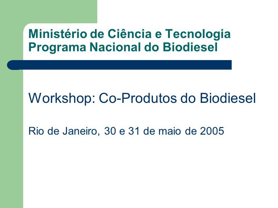 Ministério de Ciência e Tecnologia Programa Nacional do Biodiesel Workshop: Co-Produtos do Biodiesel Rio de Janeiro, 30 e 31 de maio de 2005