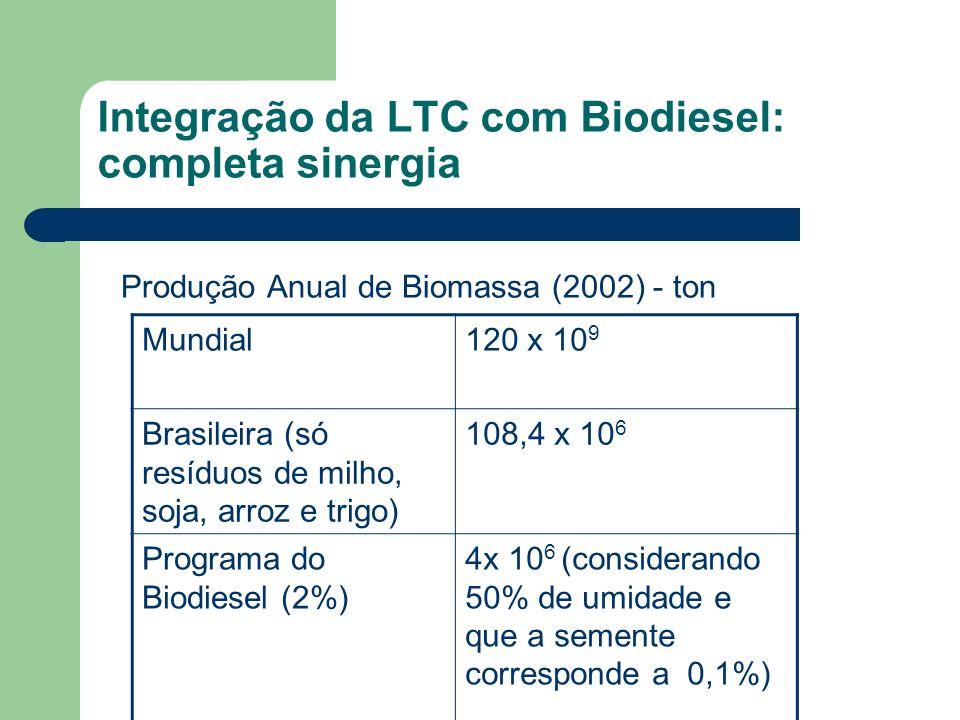Integração da LTC com Biodiesel: completa sinergia Produção Anual de Biomassa (2002) - ton Mundial120 x 10 9 Brasileira (só resíduos de milho, soja, a