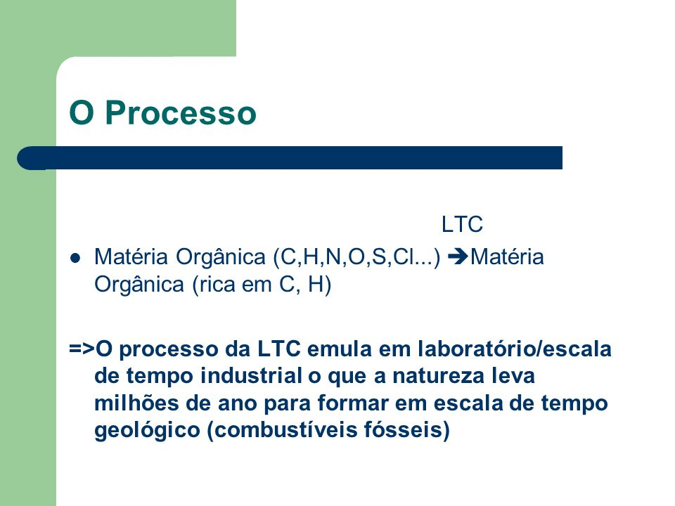 O Processo LTC Matéria Orgânica (C,H,N,O,S,Cl...) Matéria Orgânica (rica em C, H) =>O processo da LTC emula em laboratório/escala de tempo industrial