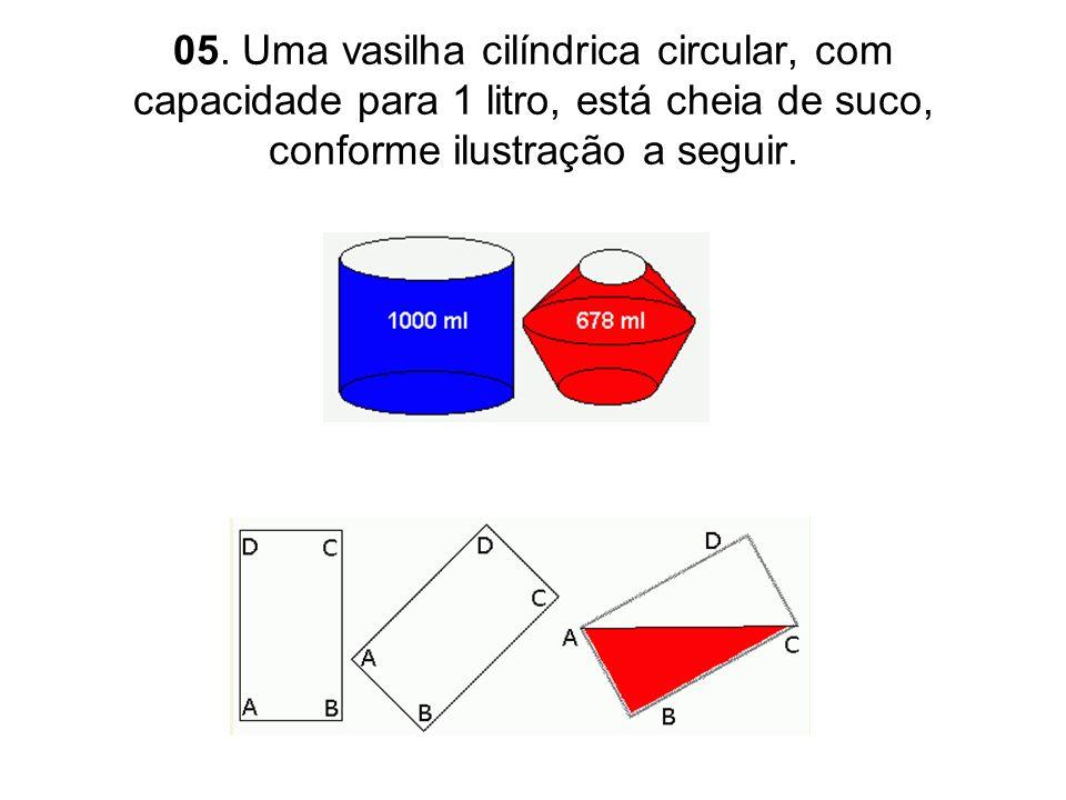 05. Uma vasilha cilíndrica circular, com capacidade para 1 litro, está cheia de suco, conforme ilustração a seguir.