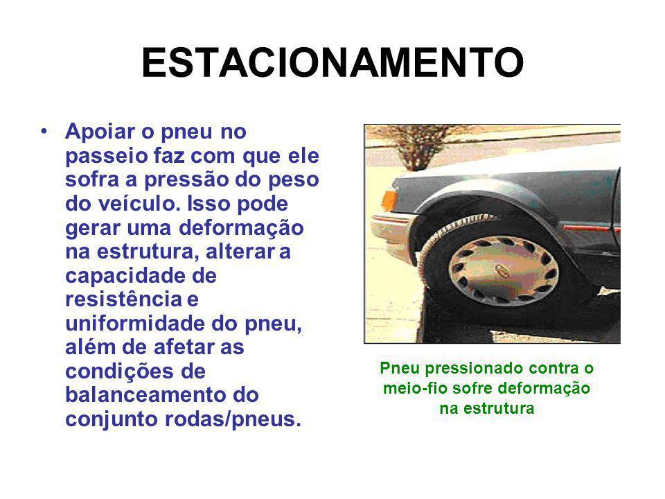 ESTACIONAMENTO Apoiar o pneu no passeio faz com que ele sofra a pressão do peso do veículo. Isso pode gerar uma deformação na estrutura, alterar a cap