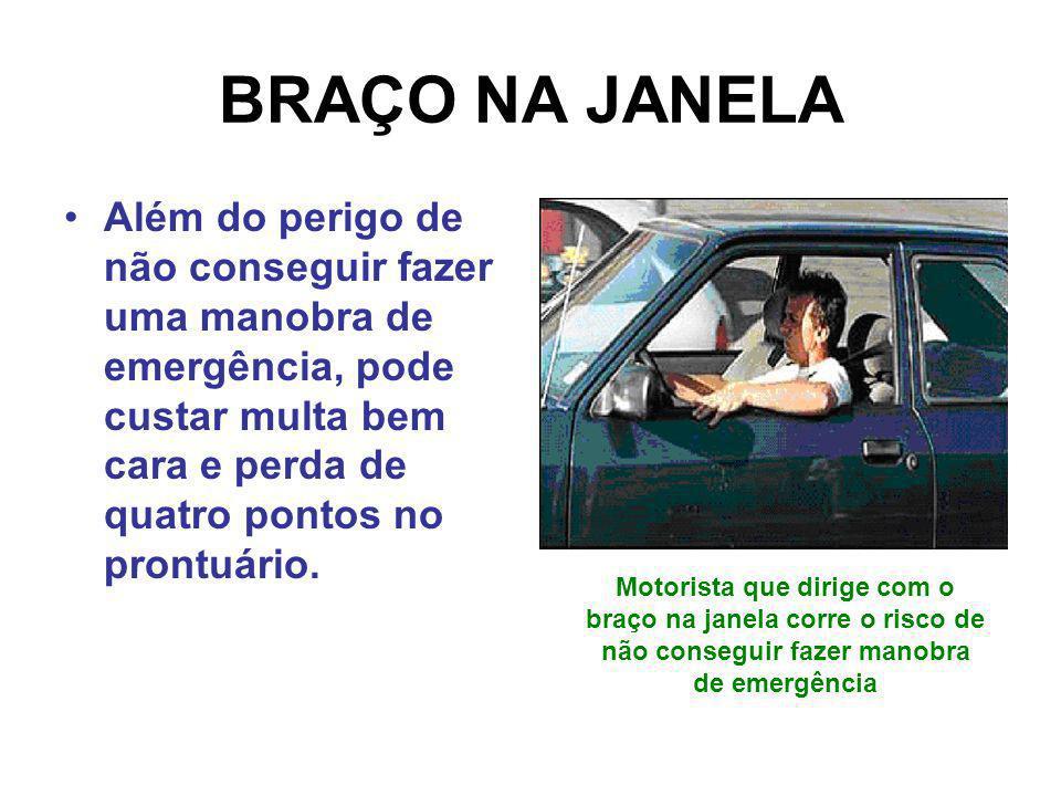 BRAÇO NA JANELA Além do perigo de não conseguir fazer uma manobra de emergência, pode custar multa bem cara e perda de quatro pontos no prontuário. Mo
