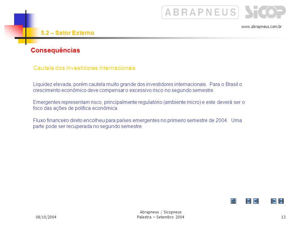 www.abrapneus.com.br 08/10/2004 Abrapneus / Sicopneus Palestra – Setembro 200412 Anda faltam regras claras para FDI. Esta é a dúvida restante para 200