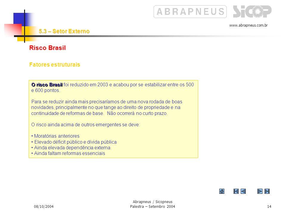 www.abrapneus.com.br 08/10/2004 Abrapneus / Sicopneus Palestra – Setembro 200413 Cautela dos investidores internacionais Liquidez elevada, porém cautela muito grande dos investidores internacionais.