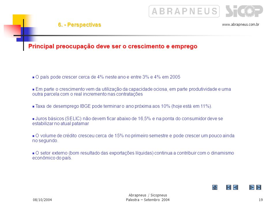www.abrapneus.com.br 08/10/2004 Abrapneus / Sicopneus Palestra – Setembro 200418 Perspectivas 2004 Perspectivas - 2004