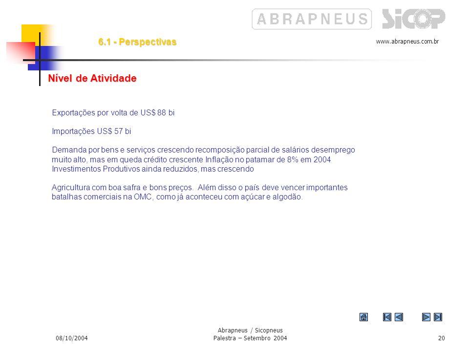 www.abrapneus.com.br 08/10/2004 Abrapneus / Sicopneus Palestra – Setembro 200419 6. - Perspectivas Principal preocupação deve ser o crescimento e empr