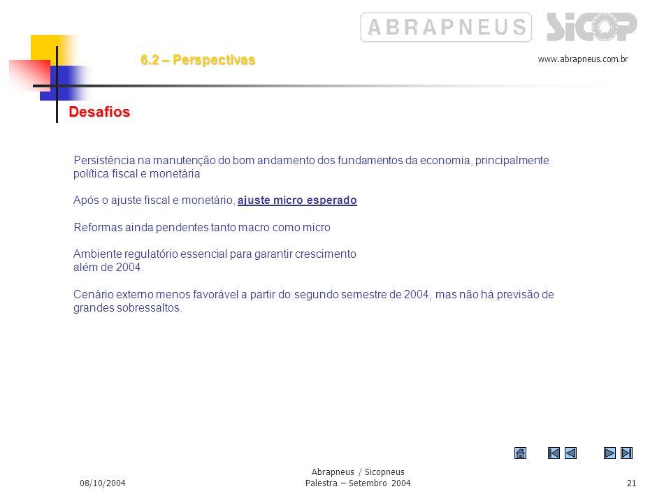 www.abrapneus.com.br 08/10/2004 Abrapneus / Sicopneus Palestra – Setembro 200420 Exportações por volta de US$ 88 bi Importações US$ 57 bi Demanda por