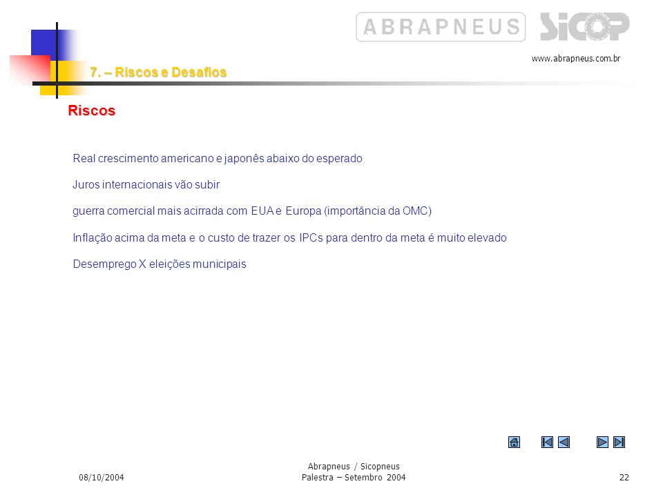 www.abrapneus.com.br 08/10/2004 Abrapneus / Sicopneus Palestra – Setembro 200421 Persistência na manutenção do bom andamento dos fundamentos da econom