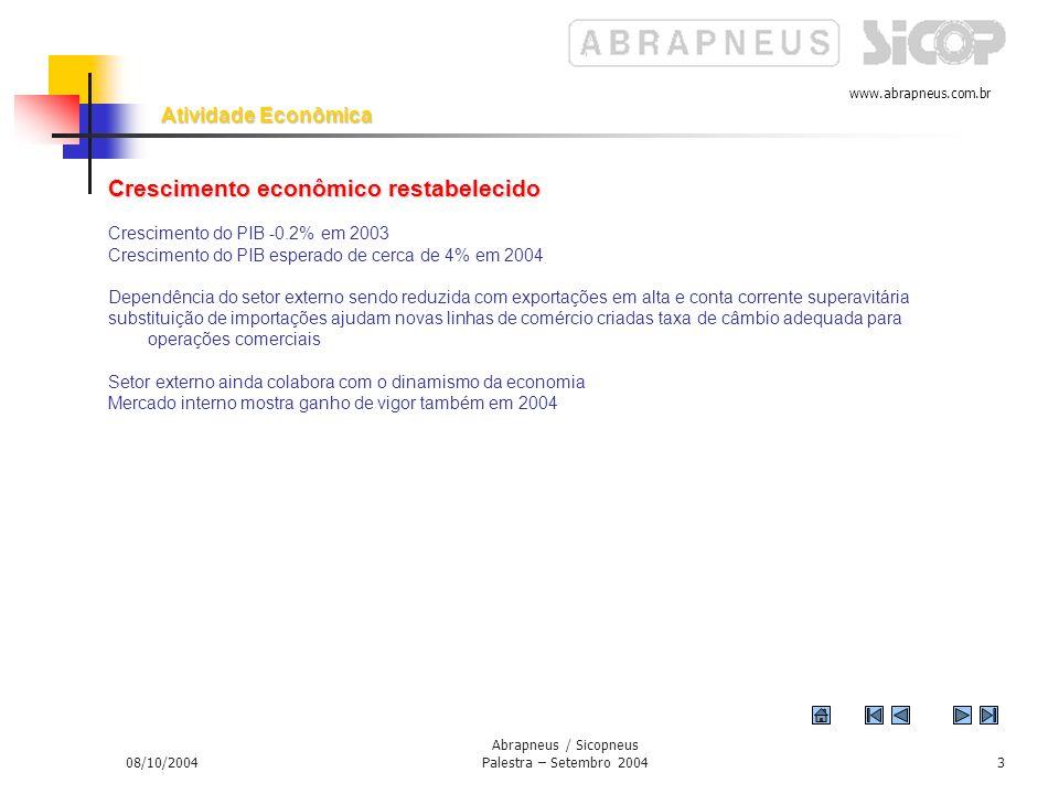 www.abrapneus.com.br 08/10/2004 Abrapneus / Sicopneus Palestra – Setembro 20042 Introdução Introdução 1. – Os sinais de crescimento econômico passam a