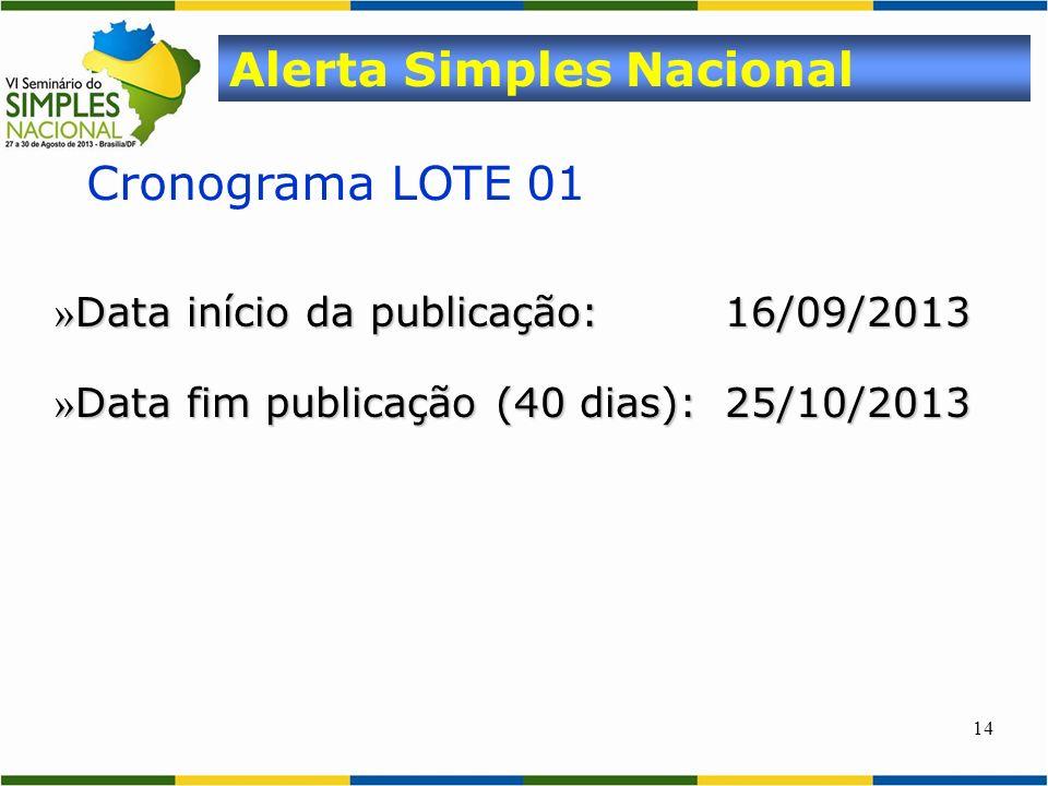 14 Cronograma LOTE 01 Alerta Simples Nacional » Data início da publicação:16/09/2013 » Data fim publicação (40 dias):25/10/2013