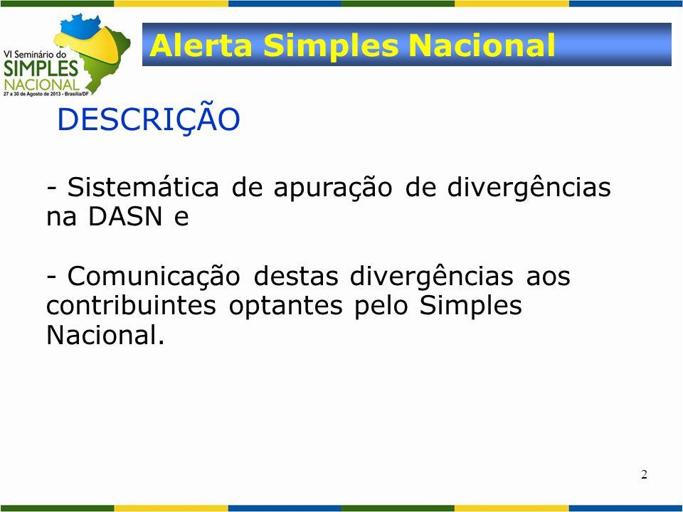 2 DESCRIÇÃO - Sistemática de apuração de divergências na DASN e - Comunicação destas divergências aos contribuintes optantes pelo Simples Nacional. Al