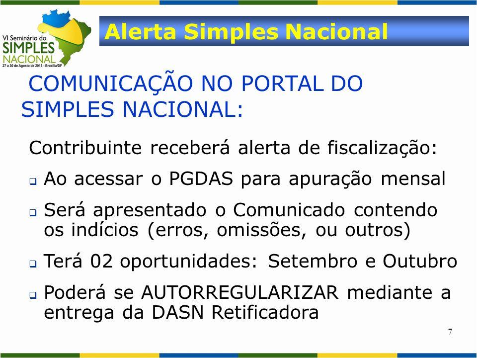7 COMUNICAÇÃO NO PORTAL DO SIMPLES NACIONAL: Alerta Simples Nacional Contribuinte receberá alerta de fiscalização: Ao acessar o PGDAS para apuração me