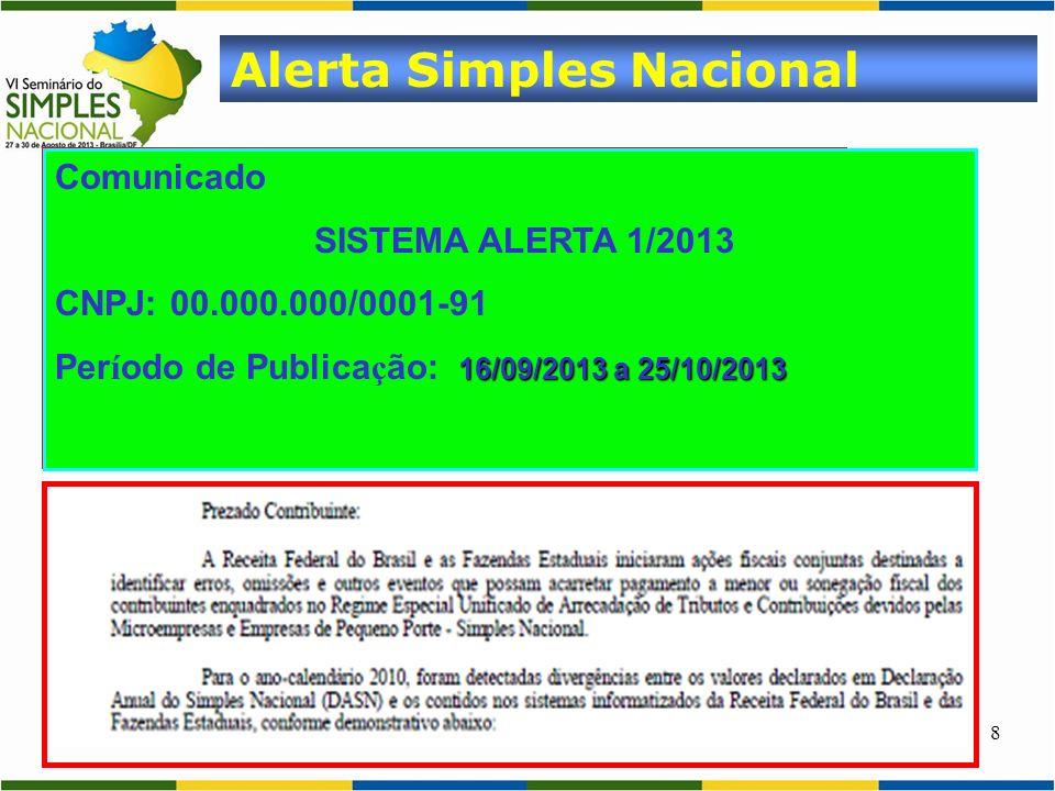 8 Alerta Simples Nacional Comunicado SISTEMA ALERTA 1/2013 CNPJ: 00.000.000/0001-91 16/09/2013 a 25/10/2013 Per í odo de Publica ç ão: 16/09/2013 a 25