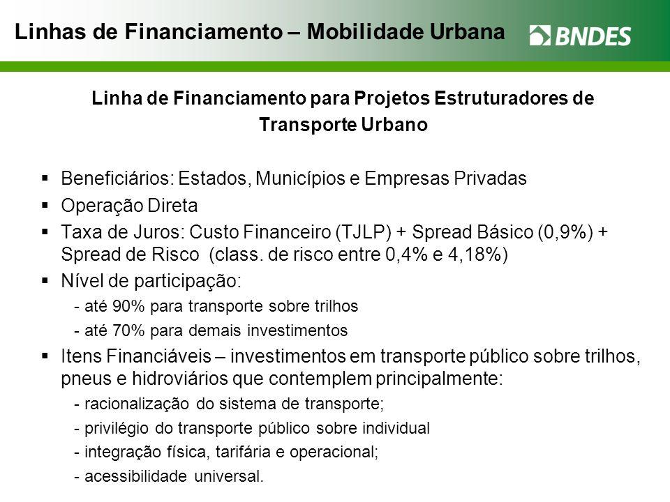 Linhas de Financiamento – Mobilidade Urbana Linha de Financiamento para Projetos Estruturadores de Transporte Urbano Beneficiários: Estados, Município