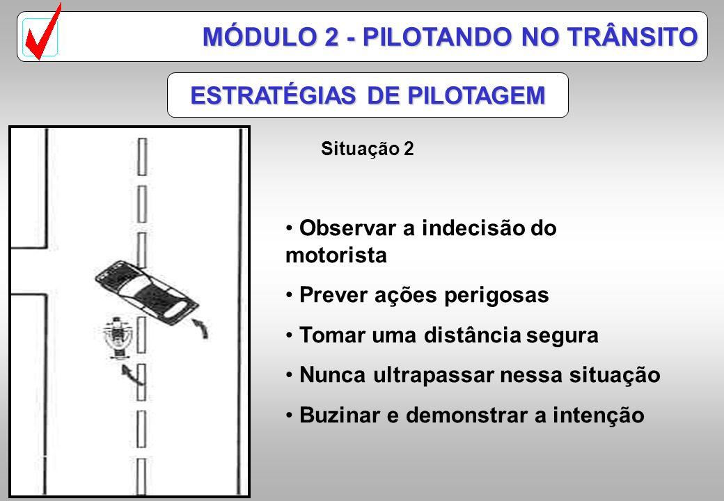 Observar pelos retrovisores Sinalizar antecipadamente Mudar de pista com decisão gradativamente ESTRATÉGIAS DE PILOTAGEM Situação 1 MÓDULO 2 - PILOTAN