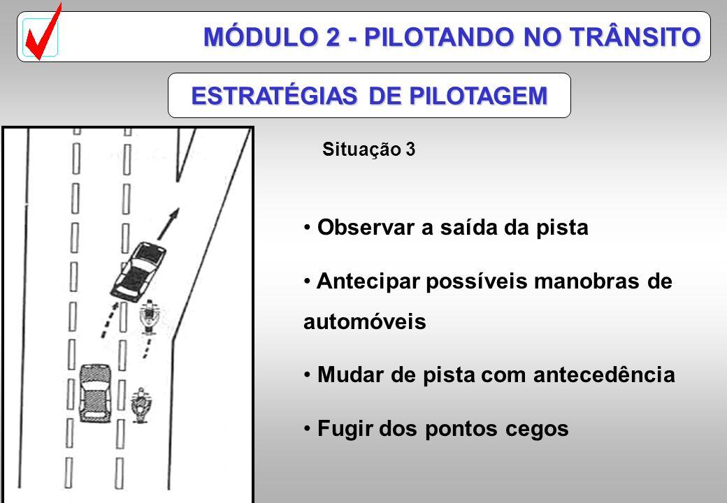 ESTRATÉGIAS DE PILOTAGEM MÓDULO 2 - PILOTANDO NO TRÂNSITO Situação 2 Observar a indecisão do motorista Prever ações perigosas Tomar uma distância segu