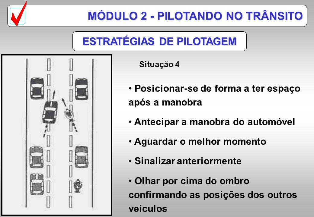 ESTRATÉGIAS DE PILOTAGEM MÓDULO 2 - PILOTANDO NO TRÂNSITO Situação 3 Observar a saída da pista Antecipar possíveis manobras de automóveis Mudar de pis