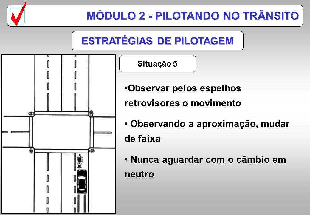 ESTRATÉGIAS DE PILOTAGEM Situação 4 MÓDULO 2 - PILOTANDO NO TRÂNSITO Posicionar-se de forma a ter espaço após a manobra Antecipar a manobra do automóv