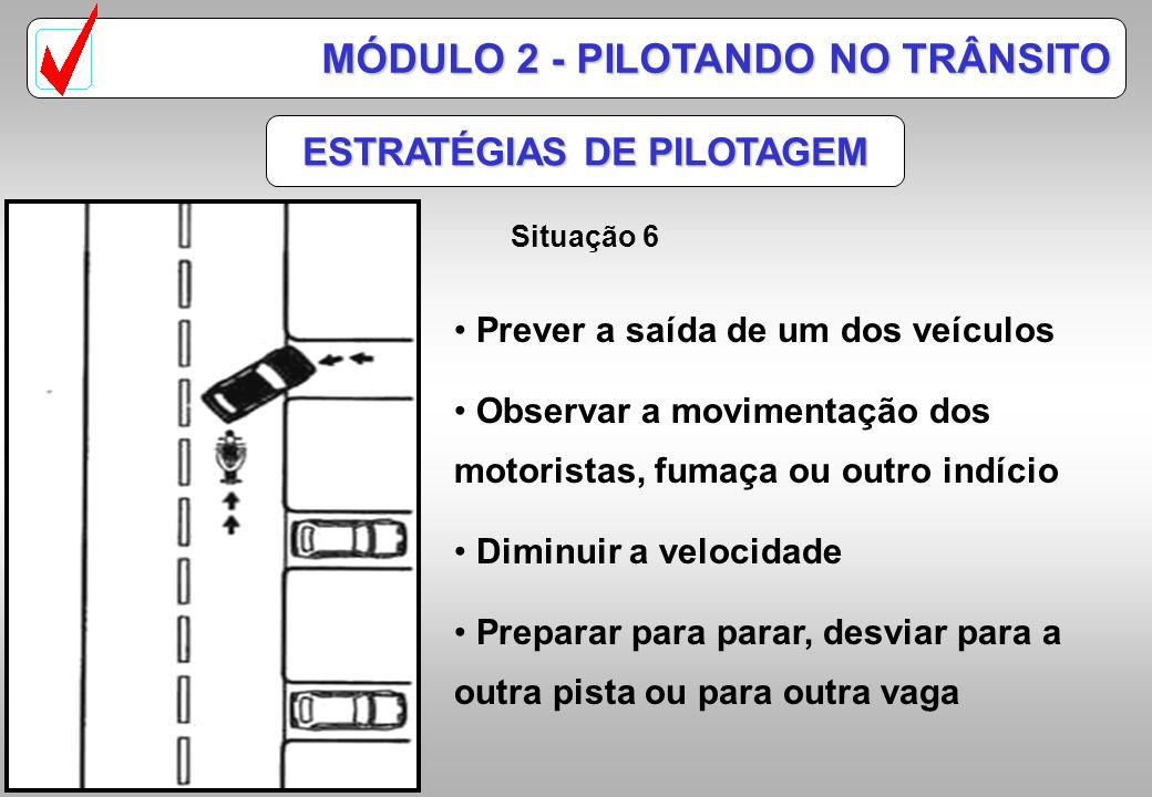 ESTRATÉGIAS DE PILOTAGEM Situação 5 MÓDULO 2 - PILOTANDO NO TRÂNSITO Observar pelos espelhos retrovisores o movimento Observando a aproximação, mudar