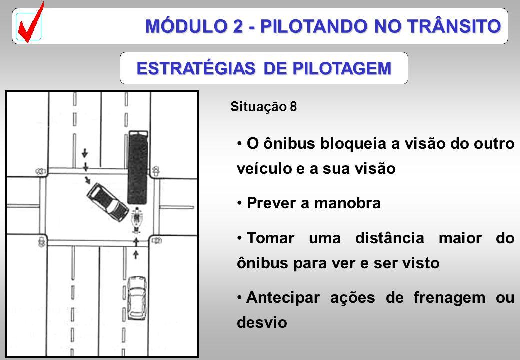 ESTRATÉGIAS DE PILOTAGEM Situação 7 MÓDULO 2 - PILOTANDO NO TRÂNSITO O carro que vira à esquerda deve ser sua maior preocupação Os acidentes mais freq