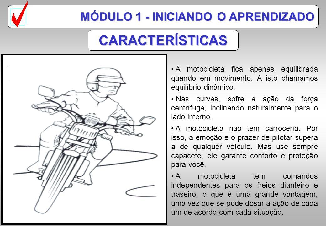 MÓDULO 1 - INICIANDO O APRENDIZADO CARACTERÍSTICAS A motocicleta fica apenas equilibrada quando em movimento.