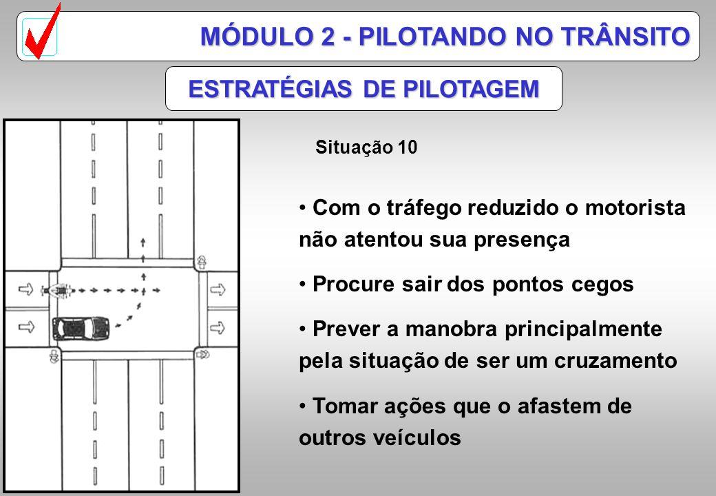 ESTRATÉGIAS DE PILOTAGEM Situação 9 MÓDULO 2 - PILOTANDO NO TRÂNSITO 1/3 dos acidentes com motocicletas acontecem em cruzamentos Motoristas aguardando