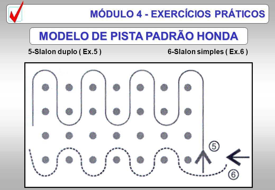 MODELO DE PISTA PADRÃO HONDA 1-Circuito oval no sentido anti-horário. ( Ex.1 ) 2-Circuito oval no dentido horário. ( Ex.2 ) 3-Alameda grande ( Ex.3 )
