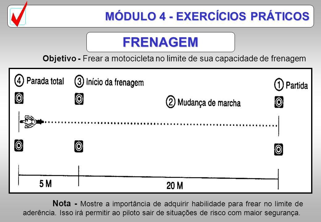 FRENAGEM Objetivo - Adquirir a postura adequada sobre a motocicleta, utilização correta dos comandos, frear utilizando o menor espaço possível. Nota -