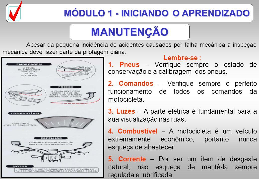 COMANDOS MÓDULO 1 - INICIANDO O APRENDIZADO A motocicleta tem alguns comandos similares a de um carro, porém, com operações e localizações diferentes.