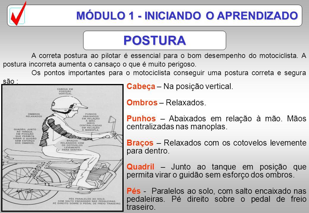 POSTURA MÓDULO 1 - INICIANDO O APRENDIZADO A correta postura ao pilotar é essencial para o bom desempenho do motociclista.