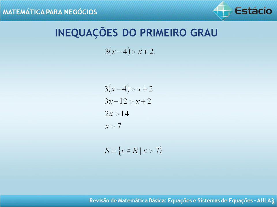 Revisão de Matemática Básica: Equações e Sistemas de Equações – AULA3 MATEMÁTICA PARA NEGÓCIOS 8 INEQUAÇÕES DO PRIMEIRO GRAU