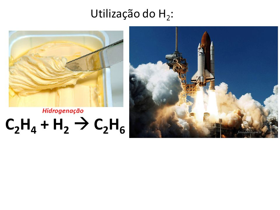 Utilização do H 2 : Hidrogenação C 2 H 4 + H 2 C 2 H 6