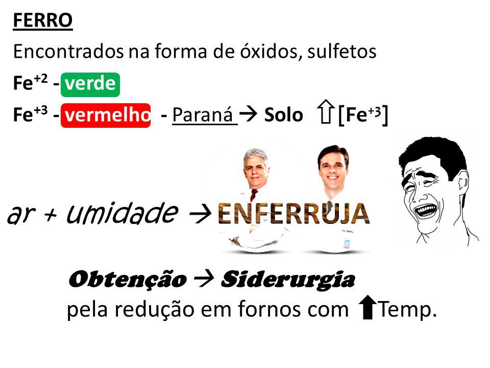 FERRO Encontrados na forma de óxidos, sulfetos Fe +2 - verde Fe +3 - vermelho - Paraná Solo [Fe +3 ] ar + umidade Obtenção Siderurgia pela redução em