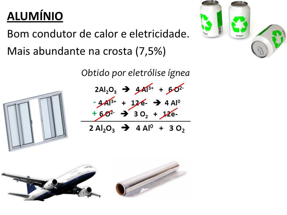 ALUMÍNIO Bom condutor de calor e eletricidade. Mais abundante na crosta (7,5%) Obtido por eletrólise ígnea 2Al 2 O 3 4 Al 3+ + 6 O 2- 4 Al 3+ + 12 e-