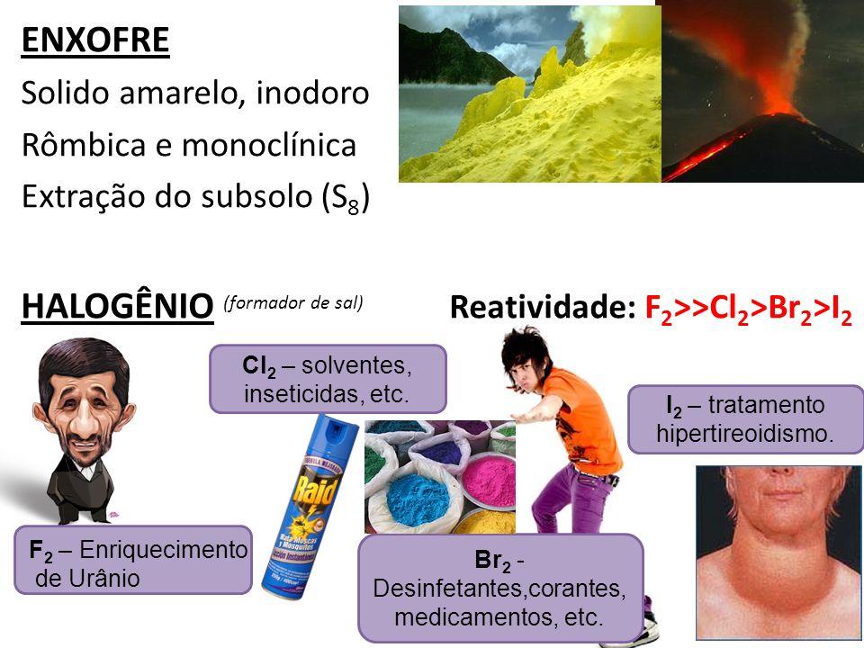 ENXOFRE Solido amarelo, inodoro Rômbica e monoclínica Extração do subsolo (S 8 ) HALOGÊNIO (formador de sal) Reatividade: F 2 >>Cl 2 >Br 2 >I 2 F 2 –