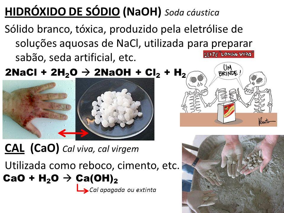 HIDRÓXIDO DE SÓDIO (NaOH) Soda cáustica Sólido branco, tóxica, produzido pela eletrólise de soluções aquosas de NaCl, utilizada para preparar sabão, s
