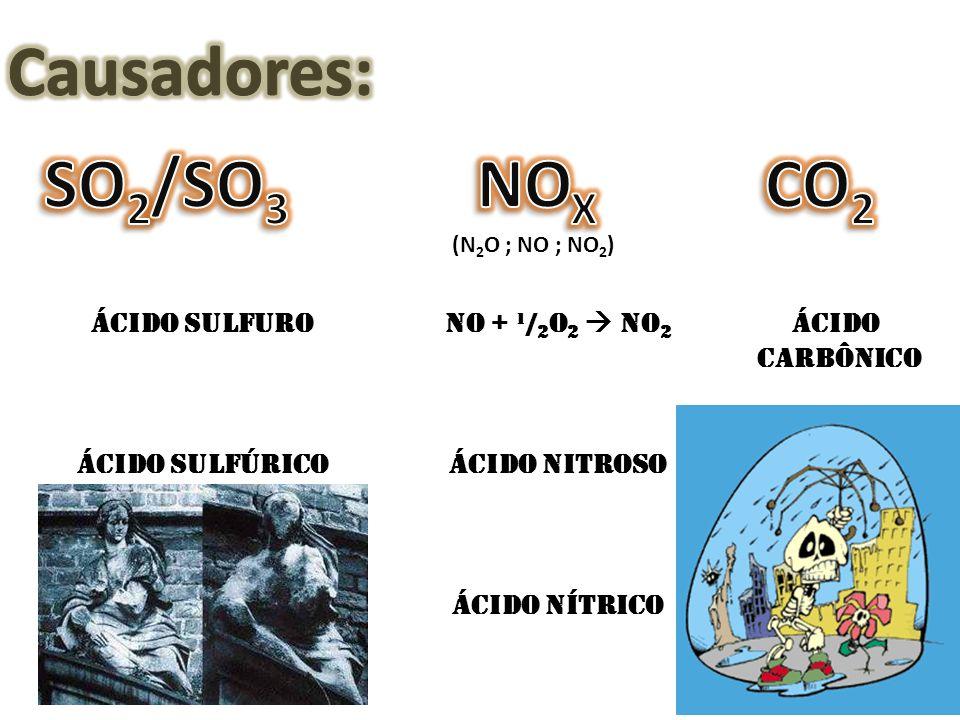 Ácido Sulfuro Ácido Sulfúrico NO + ¹/ 2 O 2 NO 2 Ácido Nitroso Ácido nítrico Ácido Carbônico (N 2 O ; NO ; NO 2 )