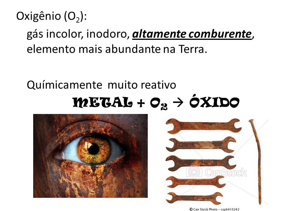 Oxigênio (O 2 ): gás incolor, inodoro, altamente comburente, elemento mais abundante na Terra. Químicamente muito reativo METAL + O 2 ÓXIDO