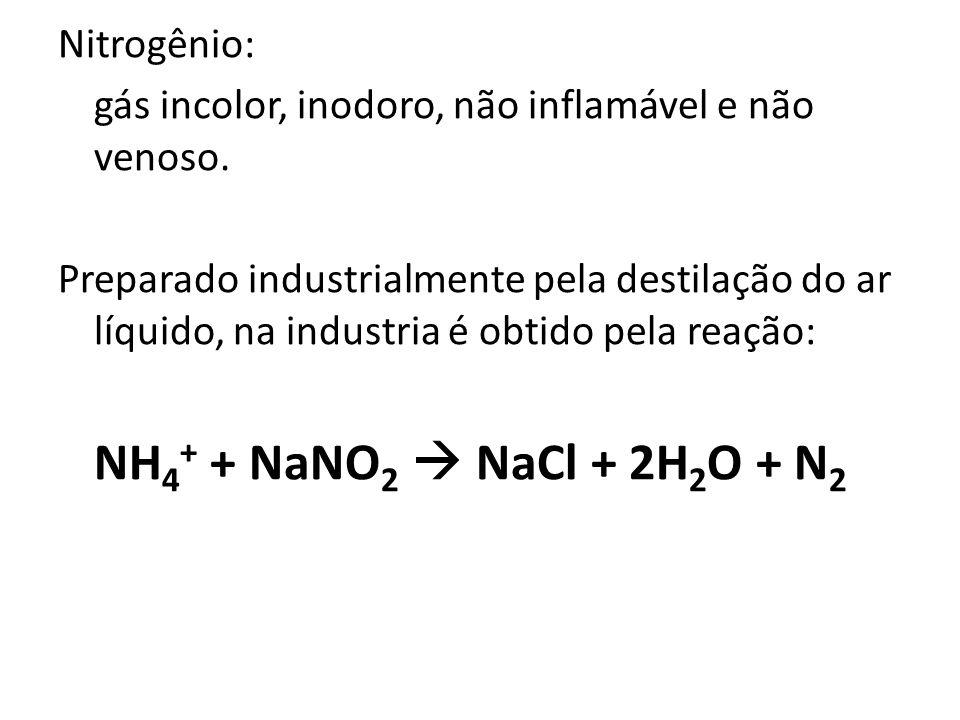 Nitrogênio: gás incolor, inodoro, não inflamável e não venoso. Preparado industrialmente pela destilação do ar líquido, na industria é obtido pela rea