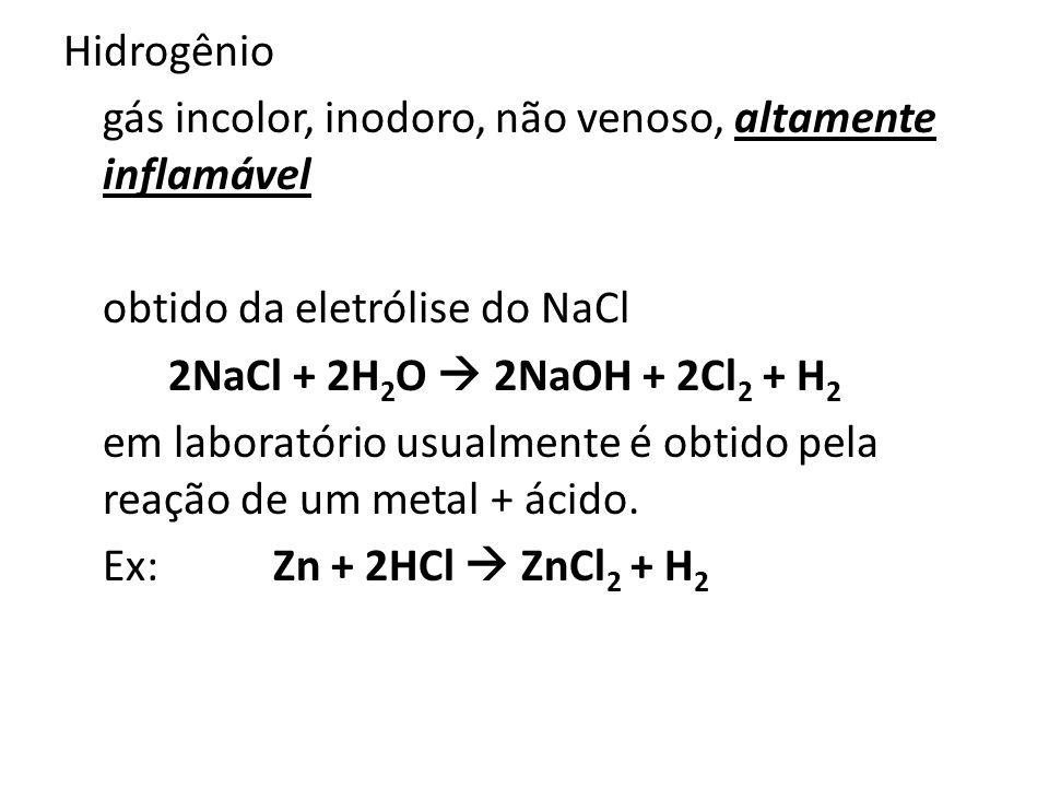 Hidrogênio gás incolor, inodoro, não venoso, altamente inflamável obtido da eletrólise do NaCl 2NaCl + 2H 2 O 2NaOH + 2Cl 2 + H 2 em laboratório usual