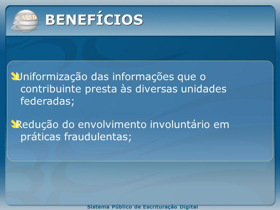 Sistema Público de Escrituração Digital BENEFÍCIOS Redução de custos com a dispensa de emissão e para o armazenamento de documentos em papel; Redução