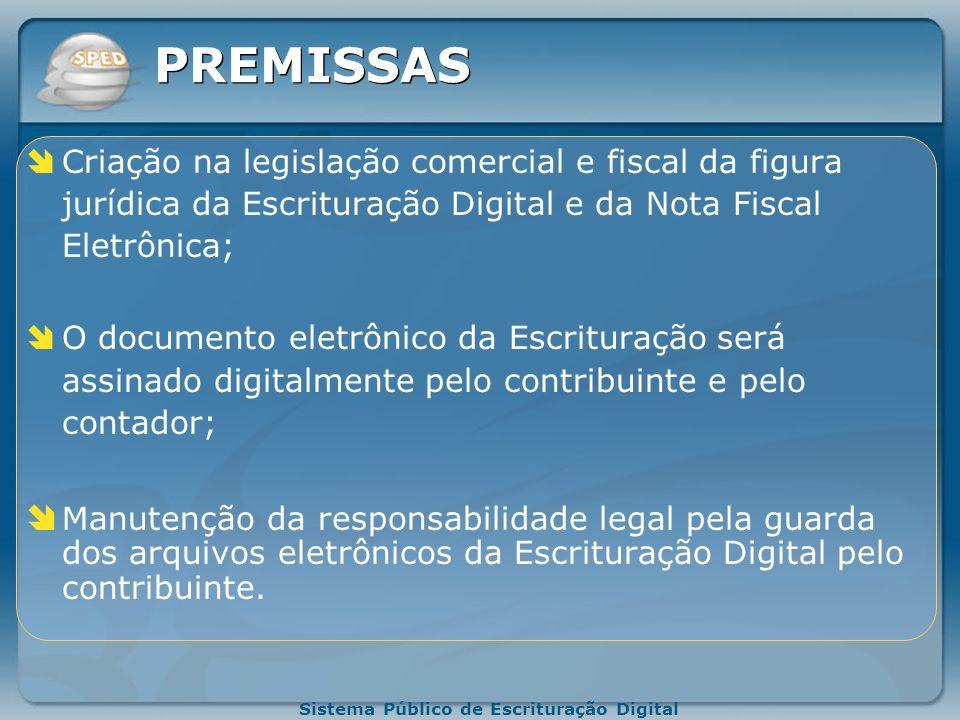 Sistema Público de Escrituração Digital PREMISSAS O documento oficial é o documento eletrônico com validade jurídica para todos os fins; Será utilizad