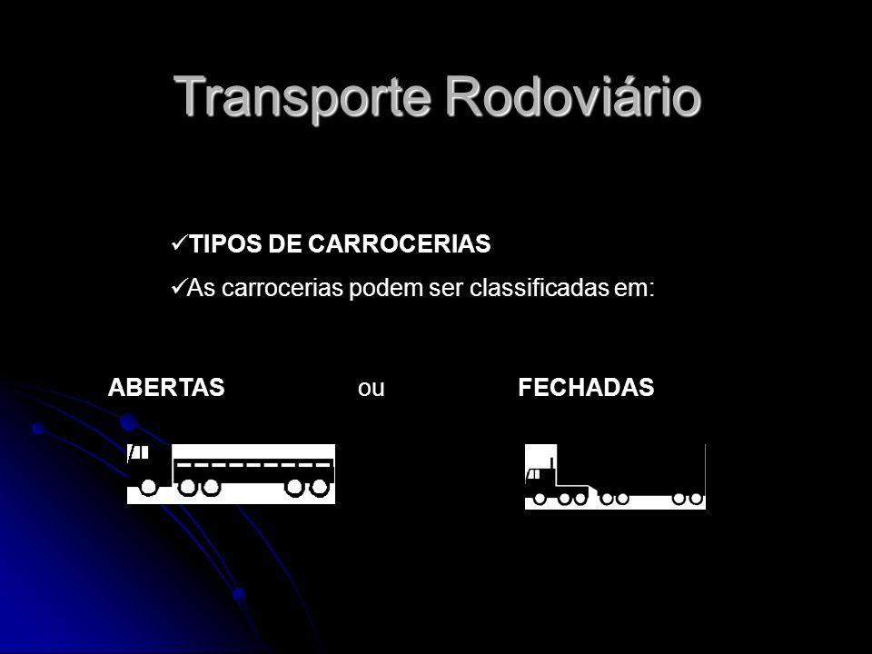 TIPOS DE CARROCERIAS As carrocerias podem ser classificadas em: ABERTAS ou FECHADAS Transporte Rodoviário