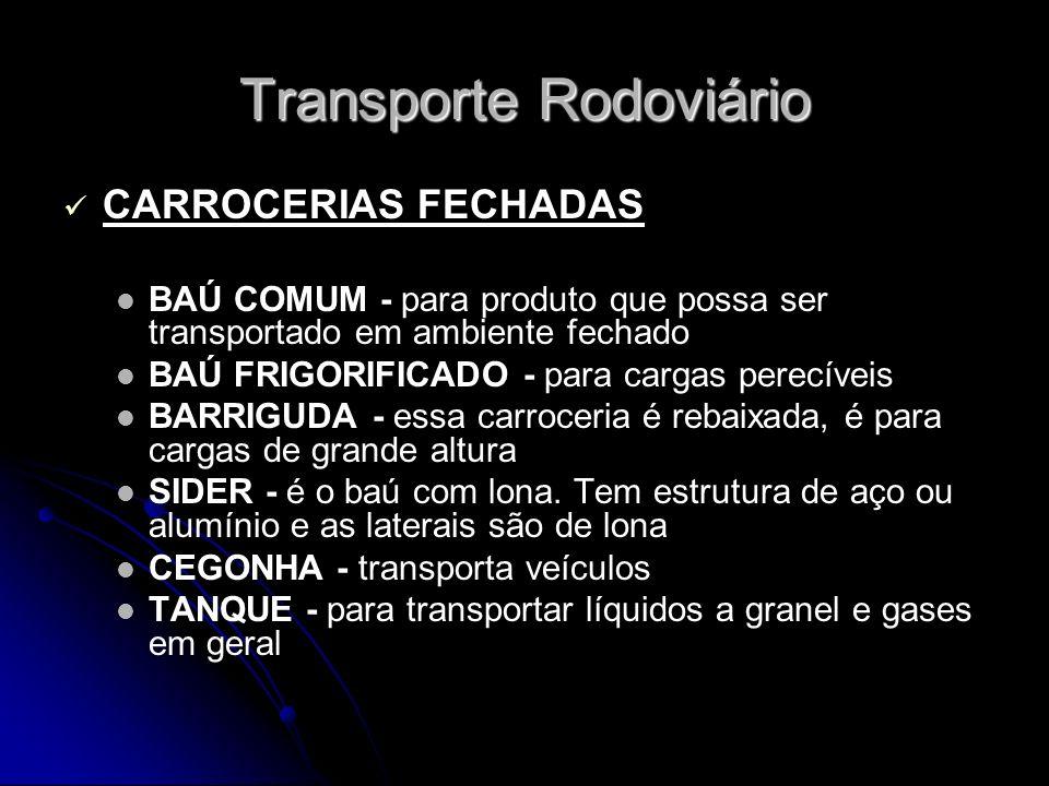 CARROCERIAS FECHADAS BAÚ COMUM - para produto que possa ser transportado em ambiente fechado BAÚ FRIGORIFICADO - para cargas perecíveis BARRIGUDA - es